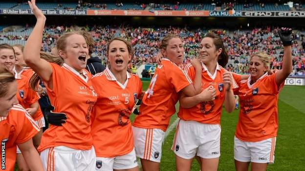 Marian McGuinness celebrates with Armagh team-mates after their 2012 All-Ireland Intermediate Final win over Waterford