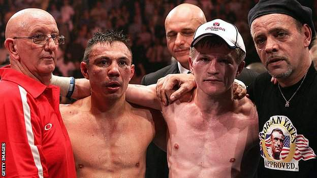 Hatton's trainer Billy Graham (right) and Johnny Lewis (left) in Tszyu's corner were both hugely influential in the bout