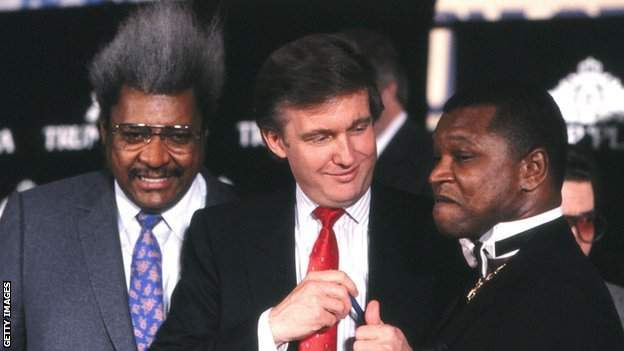 coronavirus stock Promoter's Don King (left) and Butch Lewis (right) worked with Donald Trump to deliver the fight in Atlantic City