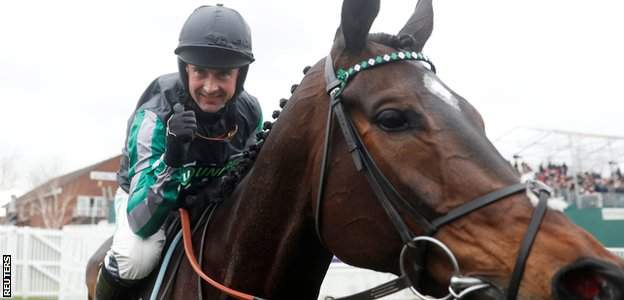 Altior and Nico de Boinville, left, after the Queen Mother Champion Chase