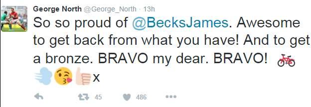 George North's tweet to girlfriend Becky James