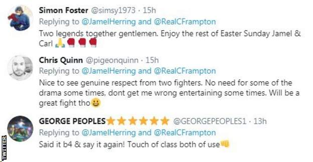 "Boxing fans on Twitter applaud Carl Frampton and Jamel Herring exchangingrespectful comments on social media, with one fan calling them both ""gentlemen"""