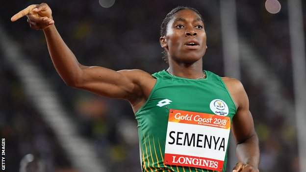 Caster Semenya celebrates after winning the women's 800m at the 2018 Commonwealth Games at Gold Coast