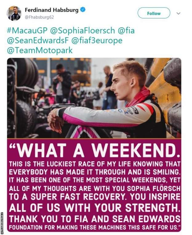 Fellow F3 driver Ferdinand Habsburg's tweet wishing Sophia Florsch well after her crash