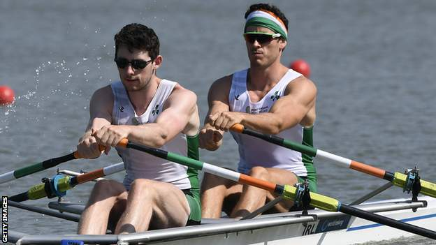 Philip Doyle (right) and double sculls partner Ronan Byrne (left) in action last season