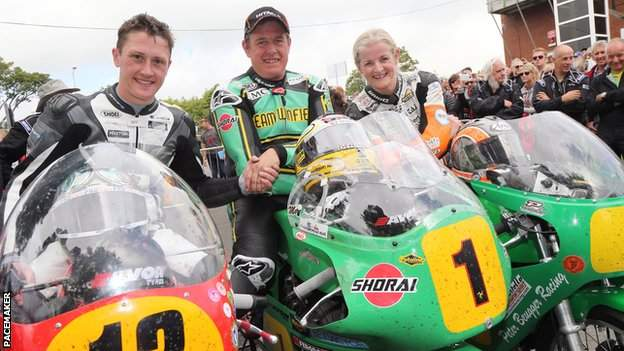 Maria Costello at the Classic TT with Dean Harrison and John McGuinness