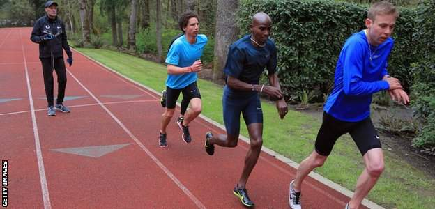 Alberto Salazar coaches Cam Levins of the Canada, Mo Farah of Great Britain and Galen Rupp