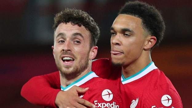 Liverpool 2-1 Sheffield United: Diogo Jota heads winner for hosts - bbc