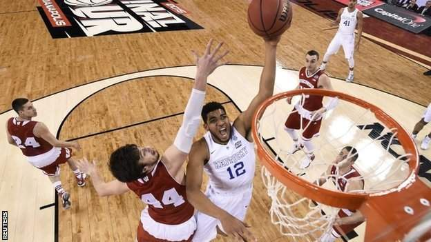 Top pick Karl-Anthony Towns goes for a shot