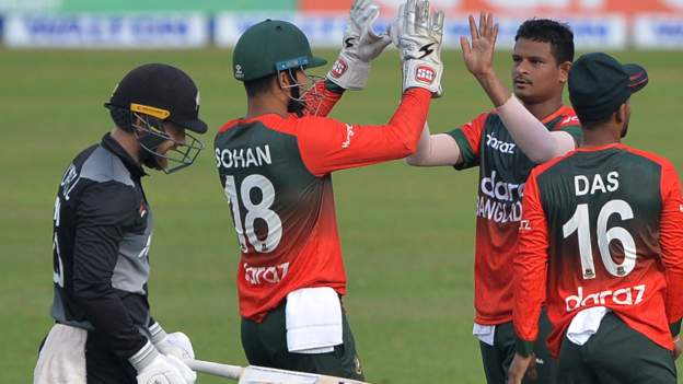 Bangladesh v New Zealand: Visitors bowled out for 60 in losing first Twenty20 by seven wickets
