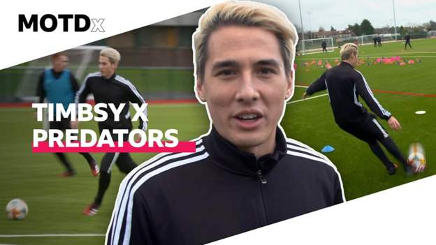 New MOTDx signing Timbsy talks boots & trains with Arsenal at Predator launch - bbc
