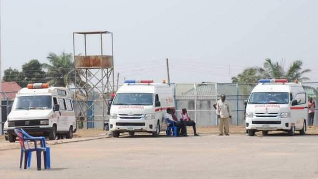 Ambulances outside the Lafia Township Stadium
