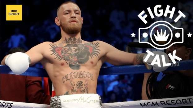 Ireland's Conor McGregor leans on the ropes ahead of his fight with American Floyd Mayweather 2017