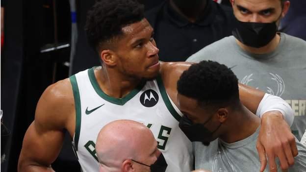 NBA finals: Antetokounmpo suffers knee injury as Atlanta beat Milwaukee to level series