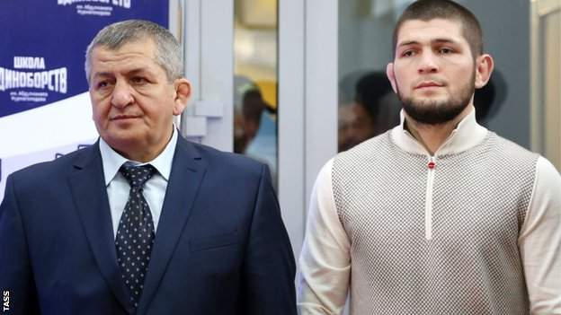 Khabib Nurmagomedov (right) alongside his father Dzhamaludin
