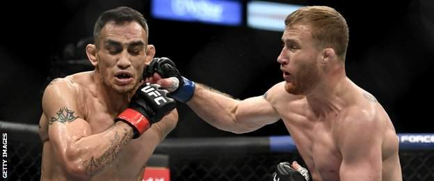 Justin Gaethje stopped Tony Ferguson in the fifth round to win the UFC interim lightweight title at UFC 249 on Saturday
