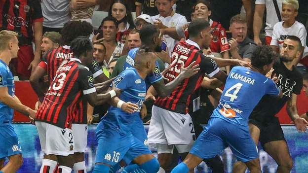 Nice docked points as Marseille players and coach are suspended after Ligue 1 brawl