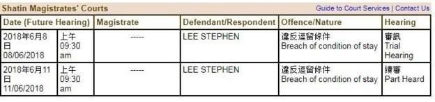 Stephen Lee court details