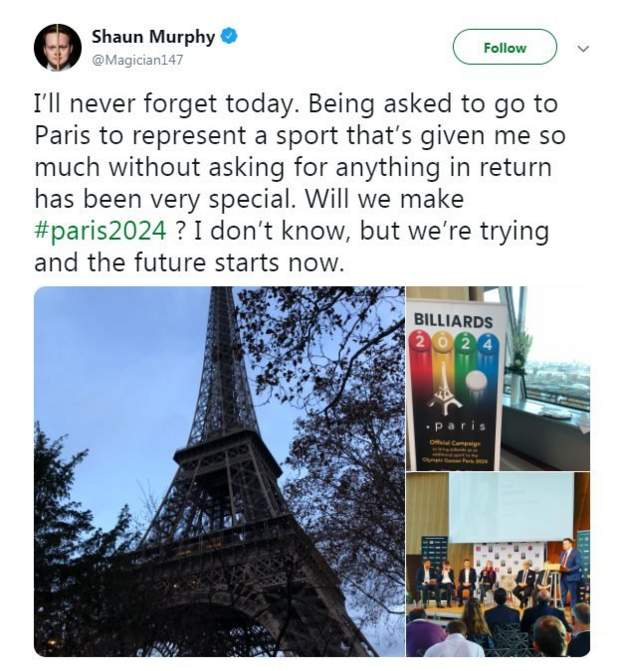 A screengrab of Shaun Murphy's tweet about being at the launch of billiard sports' bid for Olympic recognition in Paris on Friday