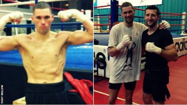 Tony Bellew with 5lbs to go to make his 12st 7lbs limit and training with Carl Froch (right)