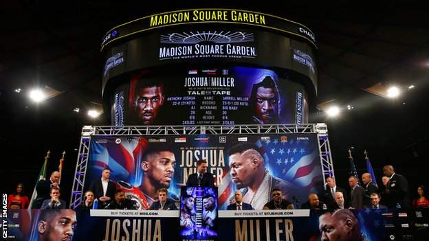 Anthony Joshua and Jarrell Miller at Madison Square Garden on Tuesday