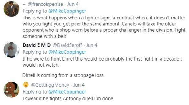 "Boxing fans react to the news that Saul 'Canelo' Alvarez could fight American Anthony Dirrell next, with one fan saying ""if he fights Dirrell, I'm done"""