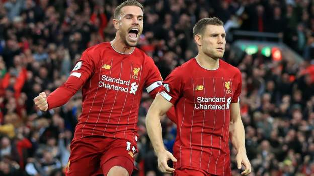 liverpool 2 1 leicester city james milner s late penalty extends reds perfect start bbc sport liverpool 2 1 leicester city james