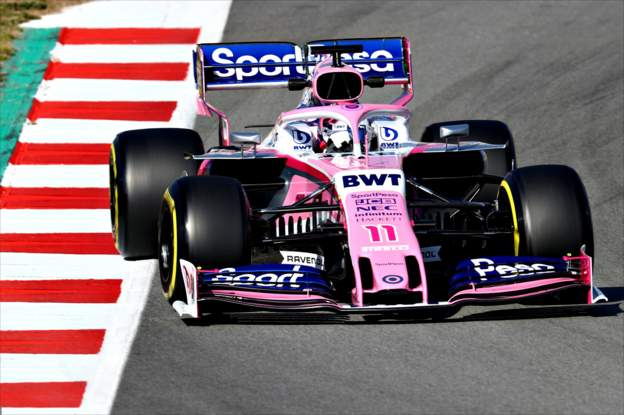 Sergio Perez driving the new Racing Point car