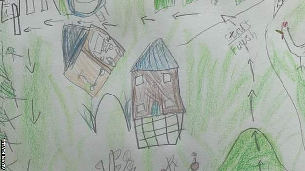 A map of Adam Revill's garden drawn by daughter Ava