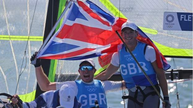 Tokyo Olympics: Dylan Fletcher and Stuart Bithell win gold for Great Britain in men's 49er sailing