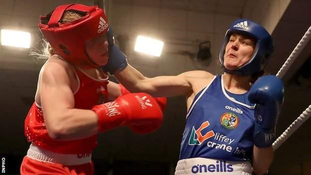 Amy Broadhurst (red) and Kellie Harrington (blue)
