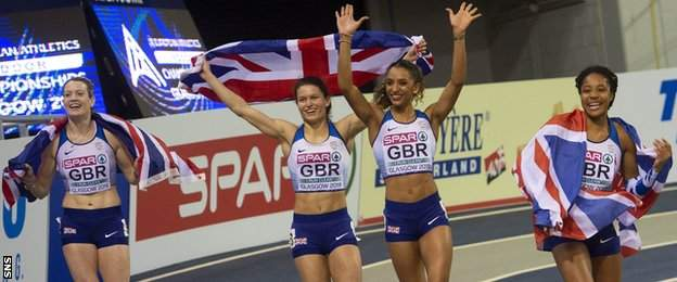 Great Britain's silver medal-winning 4x400m women's relay team at the 2019 European Indoor Championships