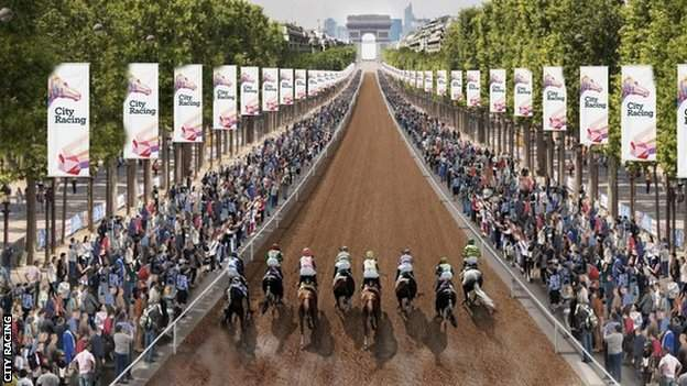 A computer generated image of racing along the Champs Elysees in Paris, France