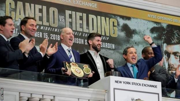 WBA super-middleweight champion Rocky Fielding rang the opening bell at the New York Stock Exchange to promote his bout with Alvarez