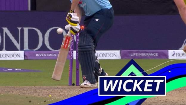 England v Australia: Jonny Bairstow bowled by Pat Cummins for 112 thumbnail