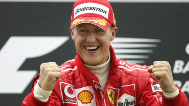 Michael Schumacher: Legendary F1 driver 'different, but here' says wife Corinna in documentary - BBC Sport