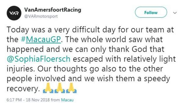 "Van Amersfoort Racing's tweet saying it had been a ""very difficult day"" for the team"