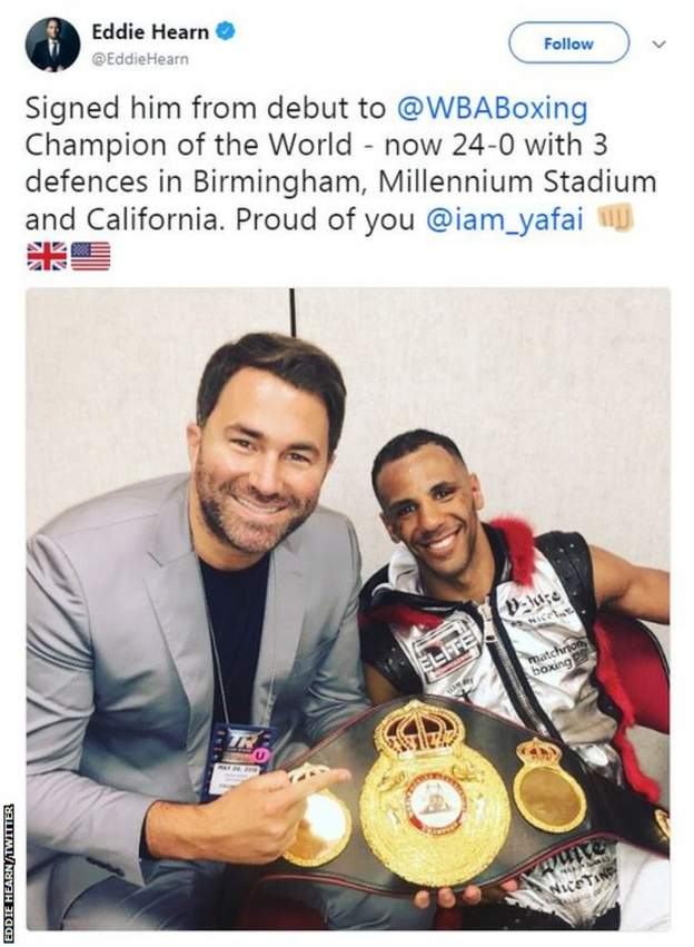 Eddie Hearn tweeted a a picture of Kal Yafai with his belt after the fight