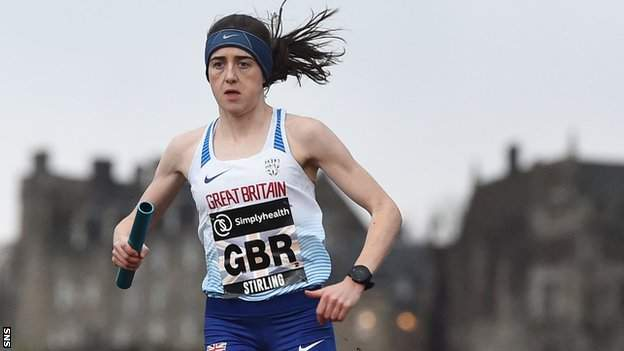 Laura Muir competes in the Great Stirling Cross Country mixed team relay