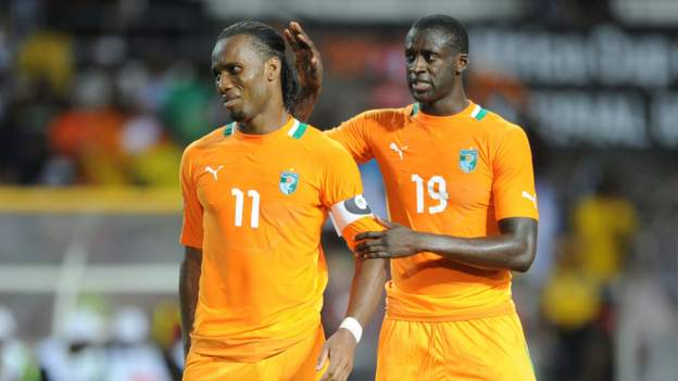Toure consoles his teammate Drogba