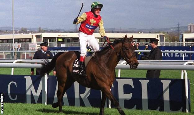 in_pictures Paul Carberry wins the 1999 Grand National on Bobbyjo