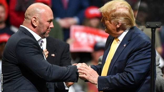 Dana White (left) staged the first major sporting event in the US since the shutdown and was praised by president Donald Trump
