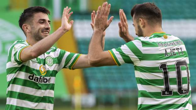 Celtic 3-2 Livingston: Champions go top of Scottish Premiership - bbc
