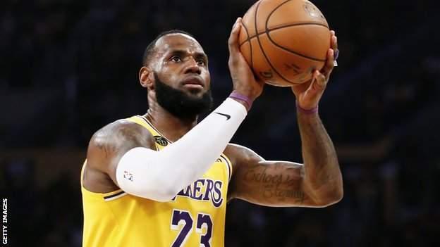 LeBron James takes a shot