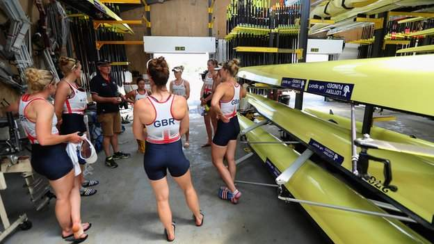 The boathouse at the British Rowing Centre in Berkshire