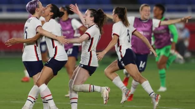 Women's Olympic football: USA through after shootout win