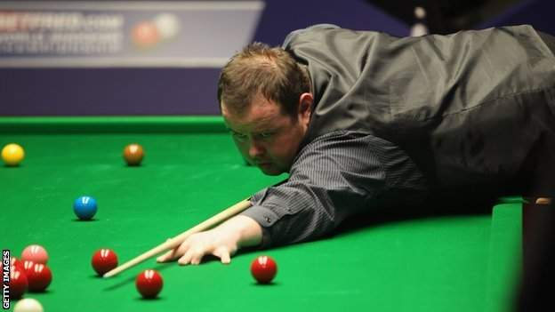 Stephen Lee in action at the World Snooker Championship at Crucible Theatre in 2012