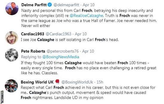 Boxing fans on Twitter react to Carl Froch calling out Joe Calzaghe, with one fan saying Calzaghe would win every time if they fought 100 times.