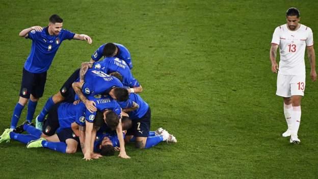 Euro 2020: Italy 3-0 Switzerland - Manuel Locatelli scores twice in one-sided win - bbc