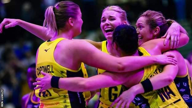 Manchester Thunder players celebrate victory